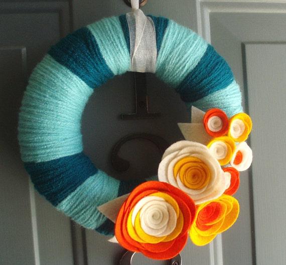 Yarn Wreath Handmade Front Door - Orange And Cream 8in.