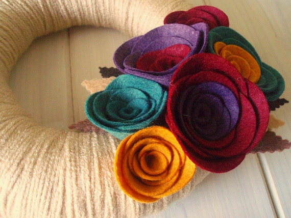 Yarn Wreath Felt Handmade Door Decoration - Sea of Jewels 8in