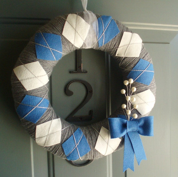 Yarn Wreath Felt Handmade Holiday Door - Hanukkah Argyle 12in