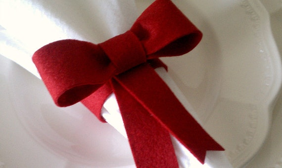 Napkin Rings Set of 4 - Bow Holiday