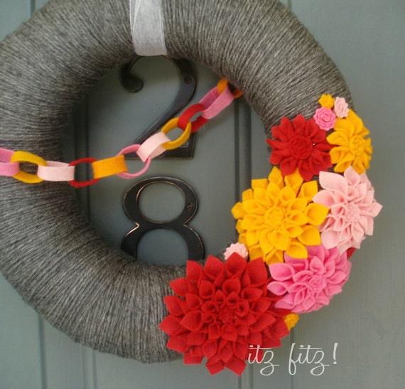 Yarn Wreath Felt Handmade Door Decoration - Strawberry Punch 12in