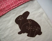 Baby Blanket Pink and Chocoate with applique Bunny