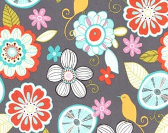 1 yard -Tweet Birdie Tweet in Gray , Michael Miller Fabrics