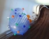 Fandango Blue Striped Bumpy Hollow Glass Earrings
