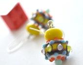 Circus Lampwork Glass Earrings