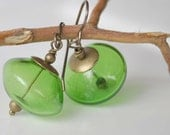 Kelly Green Glass Earrings