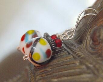Abstract Earrings, Lampwork Earrings, White Black Blue Earrings, Glass Earrings