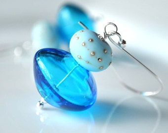 Glass Earrings, Aqua Blue Earrings, Hollow Glass Earrings,  Everyday Earrings,  Sterling Silver, Long Dangle Earrings