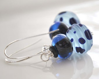 Spotted Blue Glass Earrings, Polka Dot Earrings, Lampwork Earrings, Navy Blue Earrings