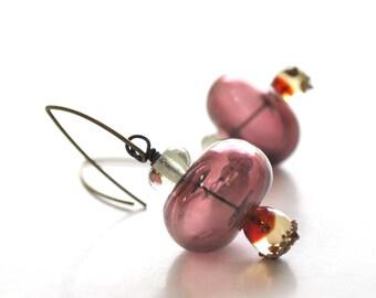 Purple Drop Glass Earrings