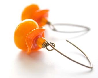 Yellow Orange Ruffle Glass Earrings, Glass Bead Earrings, Bright Color Earrings