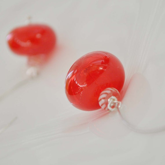 Red Candy Hollow Glass Earrings