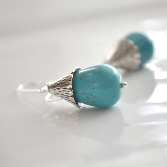 Turquoise Magnesite Teardrop Earrings, Long Dangle Earrings