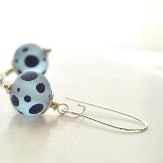 Blue Polka Dotted Lampwork Glass Earrings