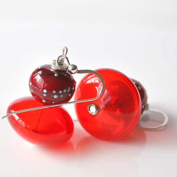 Red Glass Earrings on Sterling Silver