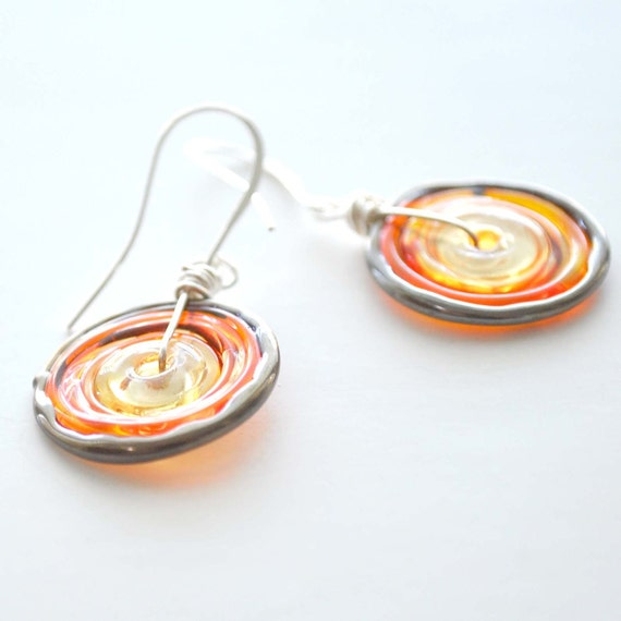 Orange Sun Disc Earrings