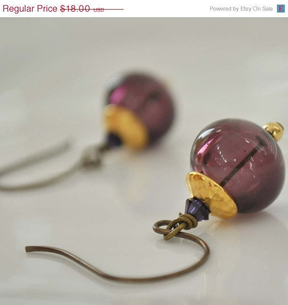 Purple and Gold Glass Earrings