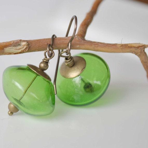 Kelly Green Glass Earrings