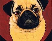 Pug Dog Heart Greeting Note Card