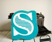Fancy Wood S Letter Wall Decor Screen Printed Painted Teal