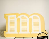 Wood M Letter Wall Decor Screen Printed Painted Yellow