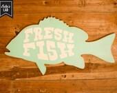 CLEARANCE Fresh Fish Farm House Vintage Inspired Wood Sign Aqua White
