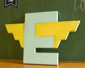Winged Letter E Vintage Inspired Mod Art Deco -  Wood Wall Decor - Pick Your Letter and Color