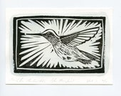 Bird Art - Original Watercolor and Linocut - Hummingbird Art  - Printmaking: Limited Edition of 12 - Signed Print -
