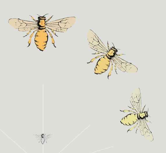 Items similar to Honey Bee Art Print in Warm Colors on Etsy