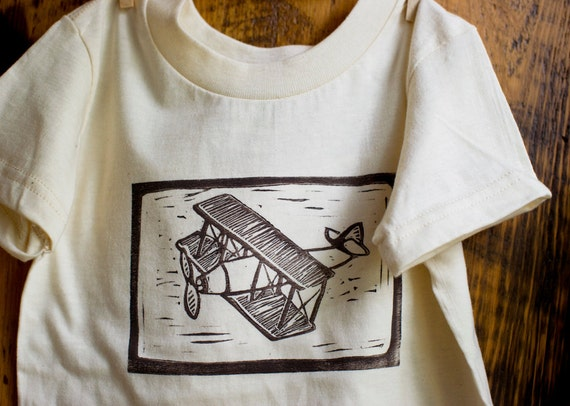 Airplane Children's TShirt - Eco Friendly Organic  - Biplane Block Printed in chocolate brown - 2T, 3T, 4T - Gift Idea for Boys