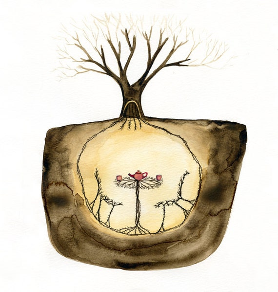 The Secret Place Beneath the Tree - Watercolor painting, print