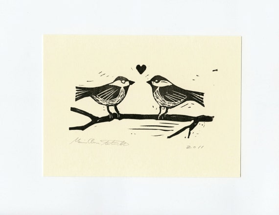 Bird Art - Valentines Day Print - Two Chickadees on a Branch with a Heart - Love - Wall Art - Hand carved Hand printed Block Print  - 5x7