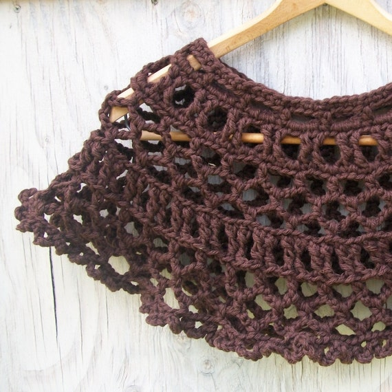 Dark Chocolate Lace Cape fast crochet pattern pdf shawl women