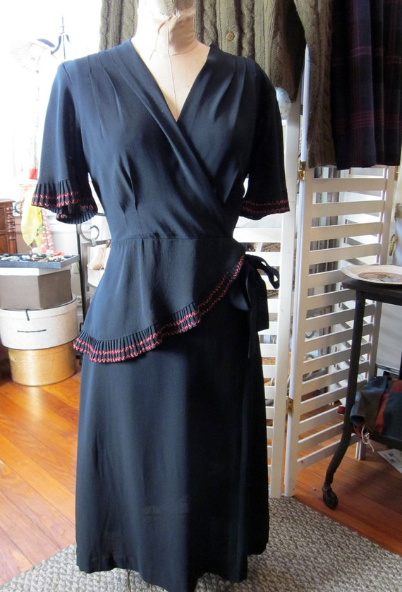 Black 1940s Rayon Dress With Red Trim