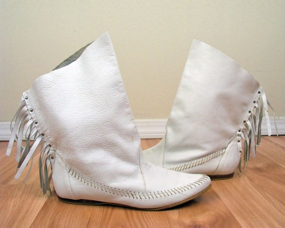 Vintage Leather Moccasin Boots Booties With Fringe