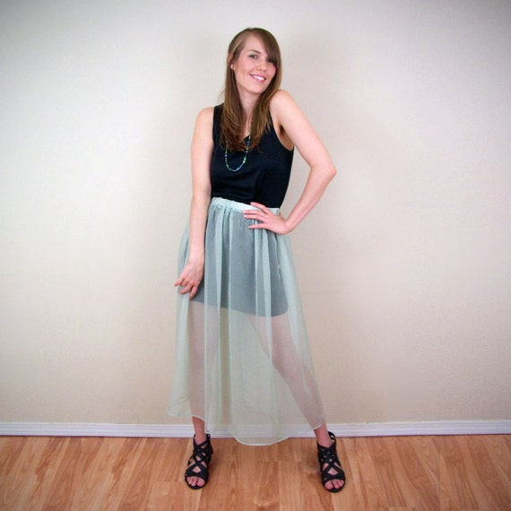 SALE - Sheer Blue Green Maxi Skirt - Upcycled Recycled XS S M
