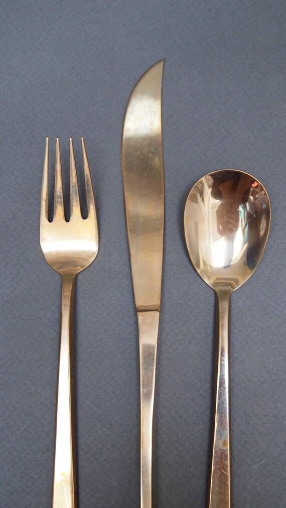 Full set of vintage brass flatware and serving by juleandbee - Thai silverware ...