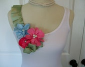 Embellished Ruffle Tank Top with Tropical Flowers