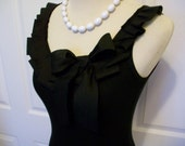 Embellished Tank Top with Black Ruffle and Bow