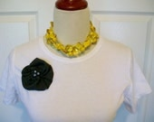 Embellished T Shirt with Charcoal Gray Ruffles and Rose with Pearls