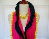 Ruffle Scarf in Pink with Yellow Pom Poms and Navy Ruffle