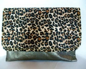 Leopard and Metalic Gold Clutch Oversized