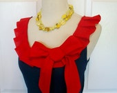 Embellished Tank Top in Navy with Red Box Pleat Ruffle and Bow