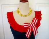 Embellished Tank Top in Navy with Red Box Pleat Ruffle and Stripe Bow