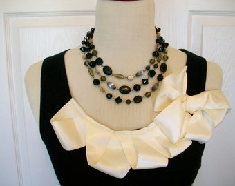 Embellished Tank Top in Black with Cream Ruffles and Bow