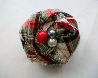 Fabric Flower Rose Pin Brooch or Hair Clip in Plaid with Pearls