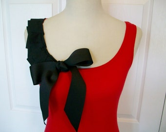Embellished Red Tank Top with Black Ruffles and Beautiful Bow