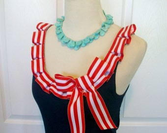 Embellished Tank Top with Fun Nautical Sailor Red and White Box Pleat Ruffle and Bow