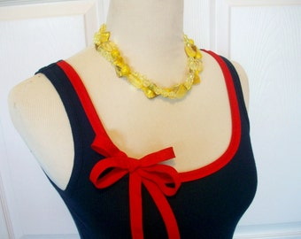 Embellished Tank Top in Navy with Red Ribbon Trim and Bow