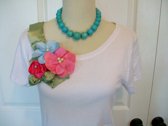 Special Listing Embellished Ruffle Tee Shirt with Tropical Flowers